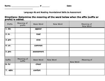 3L.4b 3RF.3a Prefix and Suffix Assessment