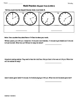 (3.MD.1) Elapsed Time part2 -3rd Grade Common Core Math Wo