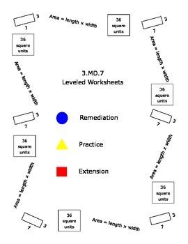 3.MD.7 Area Practice Leveled Worksheets
