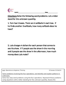3.MD.A.1 Measurement and Data Word Problems First Grade Co