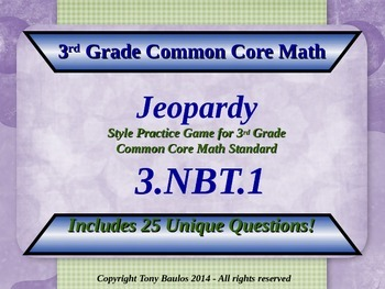 3.NBT.1 Jeopardy Game 3rd Grade Math - Round To Nearest 10
