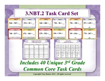 3.NBT.2 3rd Grade Common Core Math Task Cards - Add & Subt