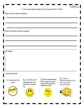 3.NBT.A1-3 Student Reflection Sheets