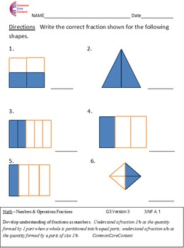 3.NF.A. Fractions Third Grade Common Core Math Worksheets