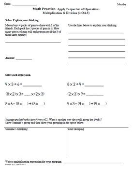 Math Plans & Sheets(3.OA.5) Apply Properties -3rd Grade Co