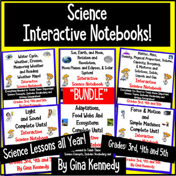 Six Interactive Science Notebooks BUNDLE! Lessons All Year!