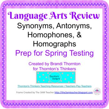 3rd & 4th Grade ELA CRCT Review Synonyms, Antonyms, Homoph