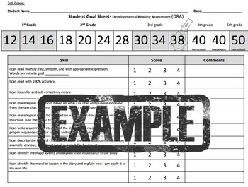 3rd - 5th grade Student Reading Goal sheet- DRA reading te