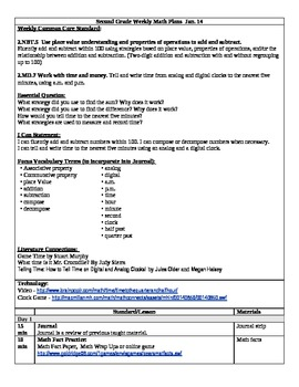 3rd 9 Weeks) Lesson Plans for 2nd Grade Math... by Tonya Gent ...