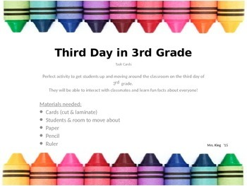 3rd Day of 3rd Grade Task Cards