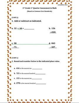 3rd Grade 1st Quarter Common Core Math Assessment (ANSWER