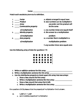 3rd Grade 4th Grade Multiplication Quiz