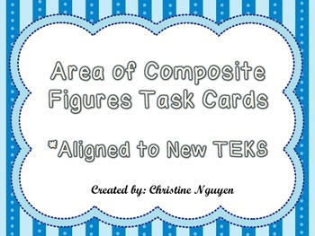 3rd Grade Area of Composite Figures Task Cards Aligned to