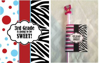 3rd Grade, Back to School Gift - printable - zebra, red and blue