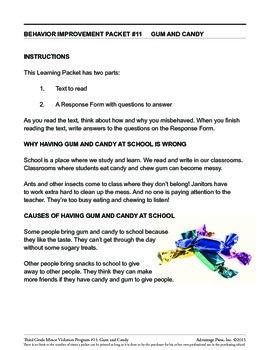 3rd Grade Behavior Improvement Packet: Gum and Candy