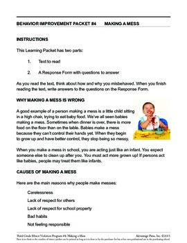 3rd Grade Behavior Improvement Packet: Making a Mess