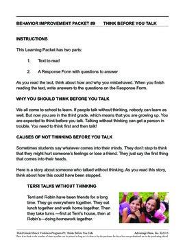3rd Grade Behavior Improvement Packet: Think First
