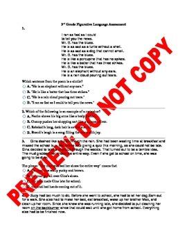 3rd Grade CCSS Distinguishing Figurative Language Assessment
