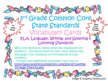 3rd Grade CCSS ELA Vocabulary Word Cards Set 2