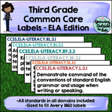 3rd Grade CCSS Labels - English Language Arts (ELA)