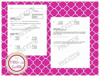 3rd Grade Chapter 4 Subtraction Test (2 versions!)- Math i