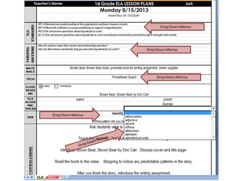 3rd Grade Common Core DAILY Lesson Plan Template - ELA & Math