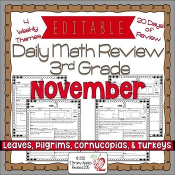 Math Morning Work 3rd Grade November Editable