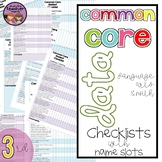 {3rd Grade} Common Core Data Checklists - Math and ELA