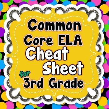 3rd Grade Common Core ELA Standards CHEAT SHEET