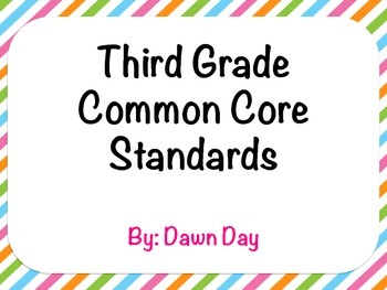 3rd Grade Common Core ELA and Math Standard Displays
