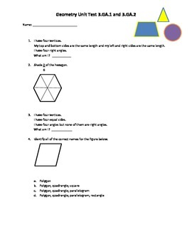 3rd Grade Common Core Geometry Unit Test