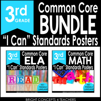 "3rd Grade Common Core ""I Can"" Standards Posters {ELA & MAT"