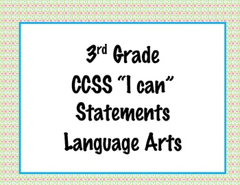 3rd Grade Common Core I Can Statements {Pink & Blue Owls Theme}