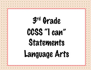 3rd Grade Common Core I Can Statements {Pink & Brown Polka