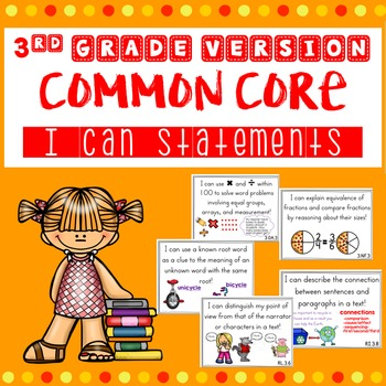 3rd Grade Common Core I Can Statements with Visuals
