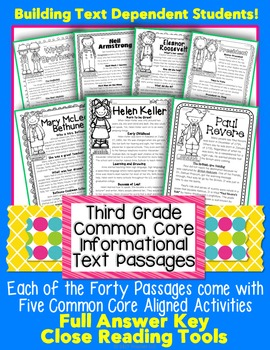 3rd Grade Common Core: Informational Text Passages for Clo