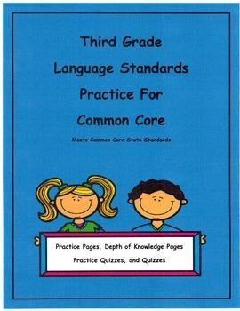 3rd Grade Common Core Language L3.1a -L3.2b Units 1-8, Dep