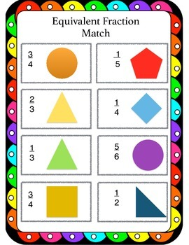 3rd Grade Common Core: Matching Equivalent Fractions