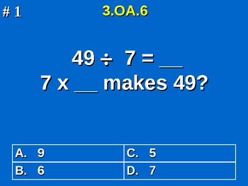 3rd Grade Common Core Math 3 OA.6 Division As An Unknown-F
