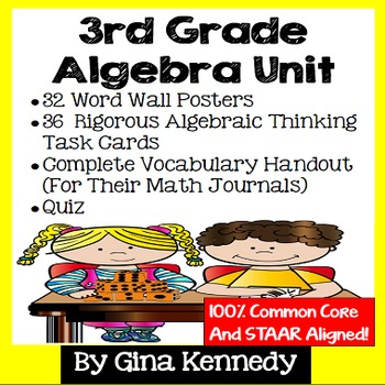 3rd Grade Algebra Unit, Handouts, Word Wall, Task Cards an