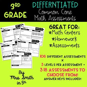 3rd Grade Common Core Math Assessments: All Standards GROW