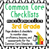 3rd Grade Common Core Math Checklists: Proficiency, Lesson