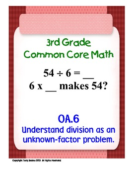 3rd Grade Common Core Math - Division As An Unknown-Factor