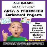 3rd Grade Area and Perimeter Enrichment Projects, + Vocabu