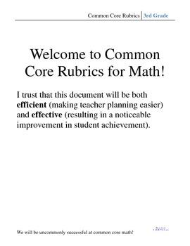 3rd Grade Common Core Math Rubric