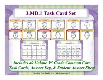 3rd Grade Common Core Math Task Cards 3 MD.1 Tell and writ