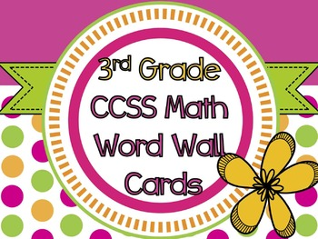 3rd Grade Common Core Math Vocabulary Cards + Word Wall Le