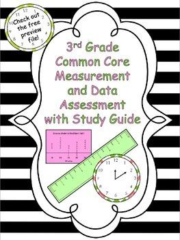 3rd Grade Common Core Measurement & Data Test w/ Study Gui