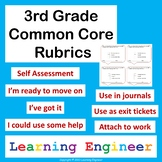 3rd Grade Rubrics, Common Core for ELA and Math, Self Assessment