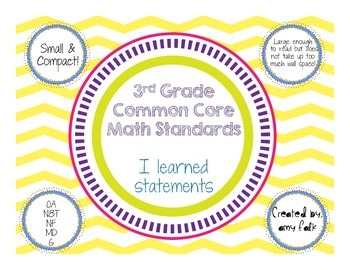 3rd Grade Common Core Standards: I Learned Statements